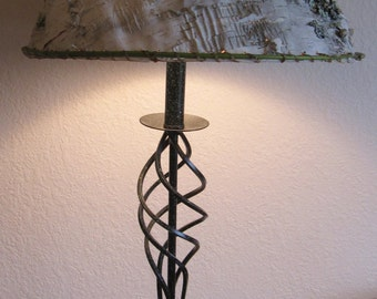 Birch Bark lamp shade and tall metal enameled lamp - custom crafted shade