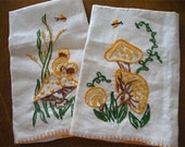 Set of Two Retro 70s Embroidered Mushroom Linen Towels