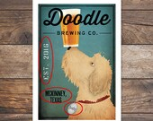FREE CUSTOMIZATION Doodle Dog Goldendoodle Labradoodle Brewing Company Beer Wine Coffee Bourbon Donut Fowler Chocolate Martini Sign Print