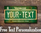 CUSTOM - Ski Bum Vermont License Plate Gallery Wrapped Canvas Wall Art