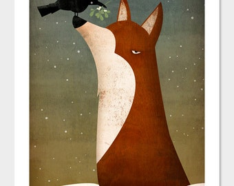 Fox, Crow and Mistletoe winter GRAPHIC ART giclee print 9x12 inches SIGNED by Ryan Fowler