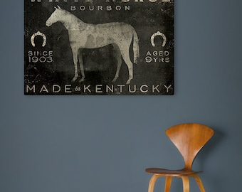 FREE Text Customization HORSE BOURBON Stretched Canvas Wall Art Sign - Ready-to-Hang Equine Equestrian