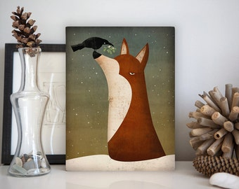 Fox, Crow and Mistletoe winter Gallery Wrapped Canvas Wall Art Ready-to-Hang By Ryan Fowler