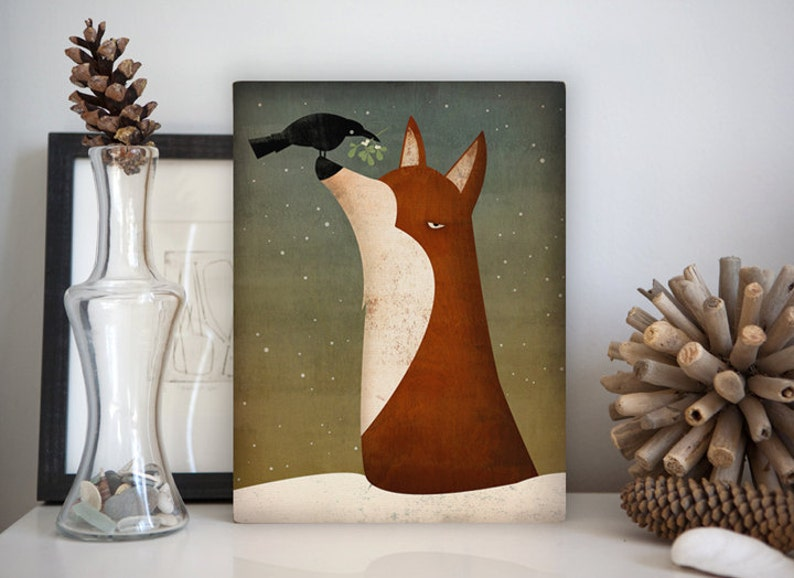 Fox Crow and Mistletoe winter Gallery Wrapped Canvas Wall Art image 0