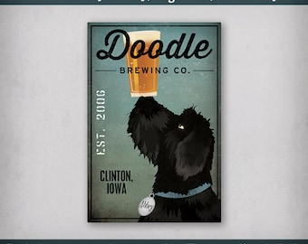 FREE CUSTOMIZATION Doodle Dog Goldendoodle Labradoodle Brewing Company Beer Sign Gallery Wrapped Canvas Wall Art Ready-to-Hang