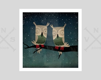 Owls In Love Starry Night OWLS Print SIGNED by Ryan Fowler - Twins