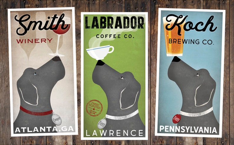 CUSTOM Personalized Labrador Weimaraner Silver Lab Brewing Company graphic  art illustration GICLEE PRINT inches Signed
