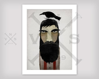 Lumberjack and Crow, GRAPHIC ART print SIGNED