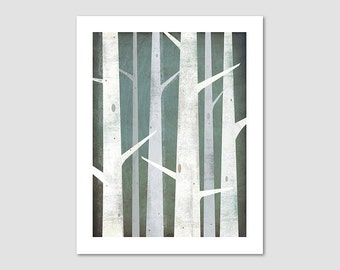 BIRCH TREES Winter Woods  graphic art Illustration print signed By Ryan Fowler