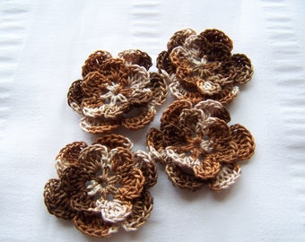 Appliques hand crocheted flowers set of 4 rootbeer float cotton 1.5 inch