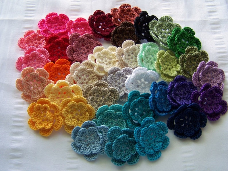 Made to Order Crocheted flowers choose your color cotton 1.5 image 0