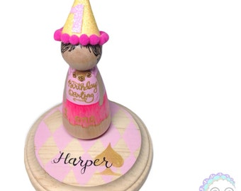 peg doll cake topper, the custom collection - large deluxe topper with customized base
