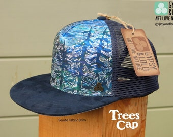 227f7e742721e Trees Cap featuring Buzz Parker carved wood painting artwork licensed by  Gypsy   Lolo Humboldt County Earth-friendly fabrics trucker hat