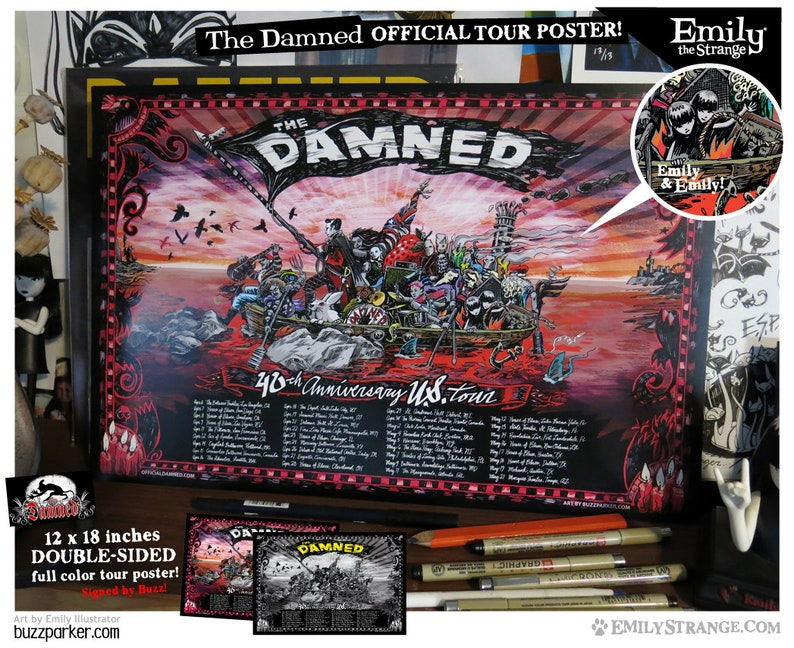 The Damned 40th Anniversary US Tour Poster by Emily the image 0
