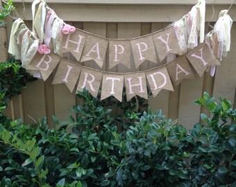 Shabby chic Happy Birthday banner