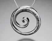 Curling Wave Pendant Sterling Silver Ocean Beach Jewelry Hammered Silver Surf Spiral Peeling Wave Necklace Beach Vacation Gift