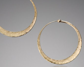 Small Gold Hoops // Endless Gold Hoops Earrings // Gold Everyday Earrings // Small Gold Hoop Earrings // Hammered Gold // Solid Gold Hoops