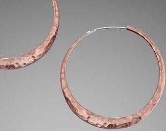 Hammered Copper Earrings // Medium Boho Hoop Earrings // Tribal Hoop Earrings // Everyday Hoops // Bohemian Earrings