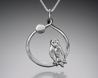 Silver Owl and Moon Necklace // Sterling Silver Barn Owl Pendant // Bird Charm