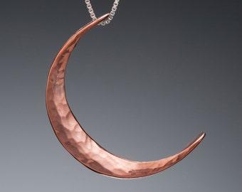 Crescent Moon Charm // Small Copper Moon Pendant // Small Crescent Moon Necklace // Hammered Copper Moon Goddess Jewelry // Pagan Moon Charm