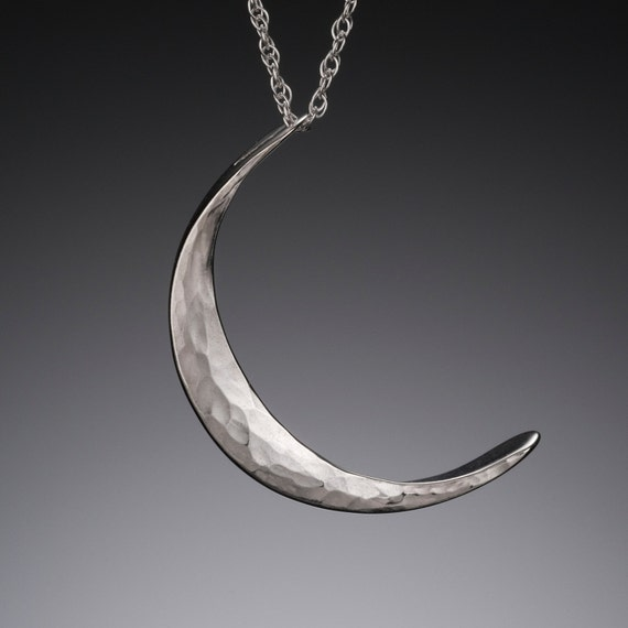 crescent moon smile jewelry necklace pendant sterling silver ball  crescent moon smile white Ver s/_m-P.84