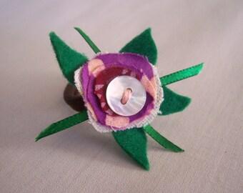 Hair Band - Ponytail Holder Flower Purple Petal Funky Fairy Button Woodland Garden Dread Band Hair Accessory
