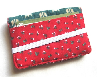 Business Card Holder Mini Wallet- Bifold Inside Outside Wallet in Vintage Floral Fabric in Red and Green