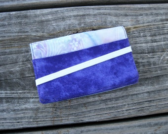 Business Card Holder Mini Wallet- Bifold Inside Outside Wallet in Purple and Batik Pastel
