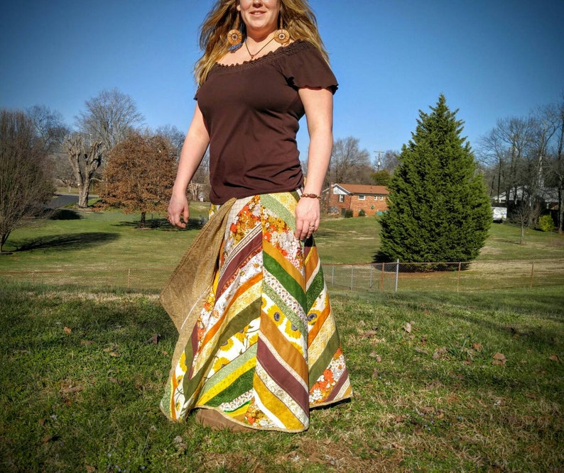 Retro Long Wrap Skirt made with Vintage Materials Patchwork image 0