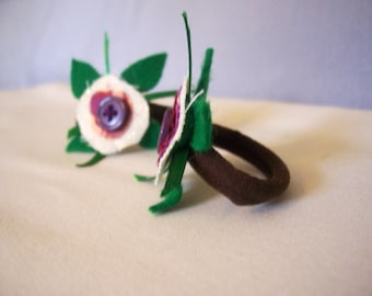 Hair Band - Flower Ponytail Pigtail Holder Set Button Purple Stocking Stuffer Dread Band