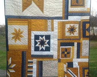 USA Patriotic Lap Quilt in Blue Tan and White Cream Marines Veterans Navy Air Force