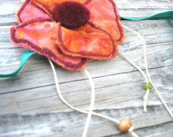 Arm Piece Accessory for Festivals in Pink Batik Flower with Hemp Beaded Dangles