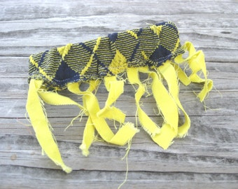 Arm Piece Accessory for Festivals in Yellow and Navy Blue Argyle with Fringe