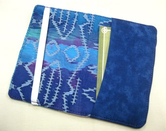 Business Card Holder Mini Wallet- Bifold Inside Outside Wallet in Blue Purple and Pink Batik
