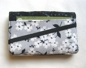 Business Card Holder Mini Wallet- Bifold Inside Outside Wallet in Black Gray and White Fabric with Flowers
