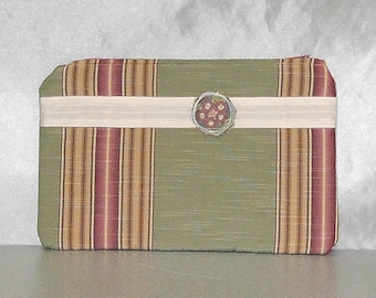 Zipper Pouch - Clutch Purse Wallet in Beach Colors Tan Sage Green with Flower Friend Gift Bag