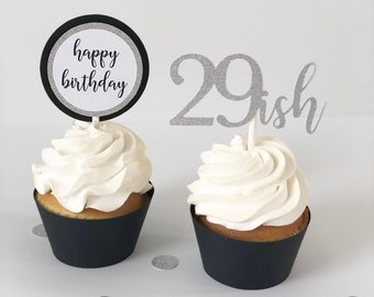 Personalised Paw Print Birthday Cupcake Toppers; x20 Rice Paper or Icing 29