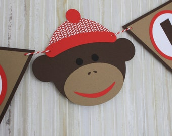 Sock Monkey Birthday Banner, Sock Monkey Party