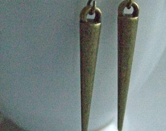 Brass Spike Earrings, Bohemian Jewelry