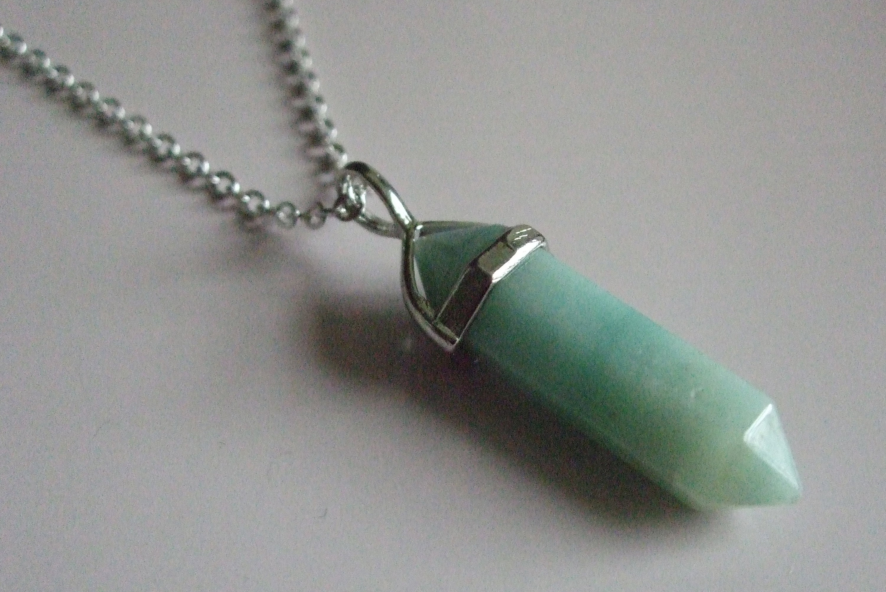 Green Jade Gemstone Pendant in Silver Plated Setting