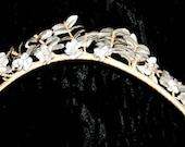 Victorian Bridal Headpiece Art Nouveau Tiara Hair Ornament Flowers Leaves Vintage Antique Bridal Headdress Gründerzeit