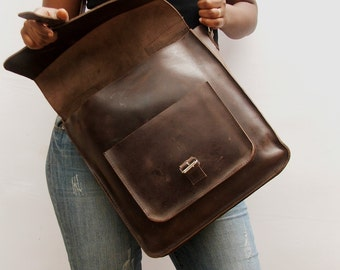 Women Messenger bag , Brown bag , Leather cross body bag , women laptop bag , book school bag