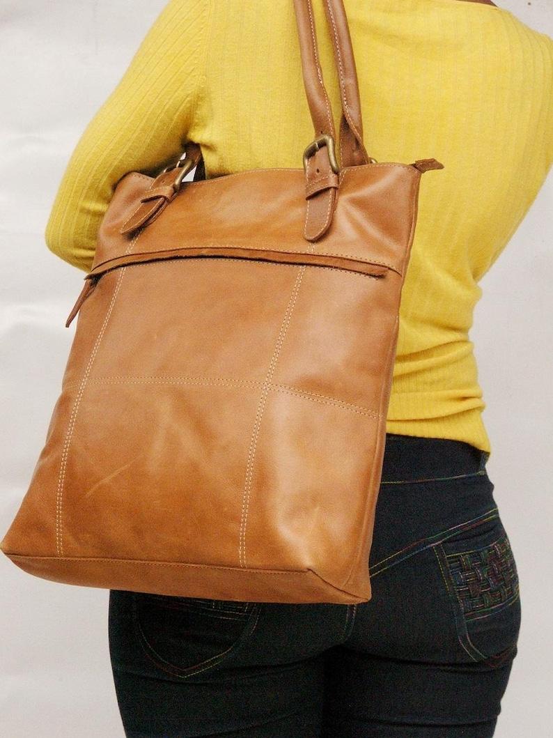 5c6ecda23037 Leather tote bag light brown bag market bag library bag every