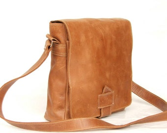 Leather crossbody bag ,  Leather bag ,  Light brown messenger bag ,  Leather crossbody bag