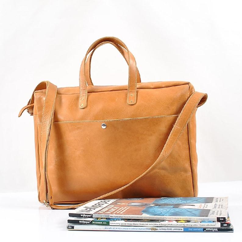 Leather messenger bag Light brown Leather briefcase  0168d8817de7d