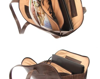 Leather bag purse  women laptop bag Brown tan Shoulder bag for  every day use