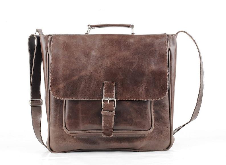 93029f9c59a39 Messenger bag leather bag for Mens laptop bag Brown Leather