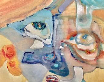 "Original Acrylic Painting on Plywood - ""Selfieeeee"""
