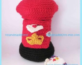 British Post Box with Robin on the snow /Jewelry Box/trinket Box Amigurumi Crochet Pattern by HandmadeKitty