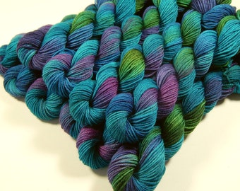 Hand Dyed Yarn, Mini Skeins, Sock Weight 4 Ply 100% Superwash Merino Wool - Aegean Multi - Blue Green Turquoise Indie Dyed Fingering Yarn
